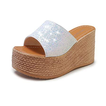 Mealeaf ❤️ Zapatillas de cuña para Mujer, Zapatos con Brillantes ...