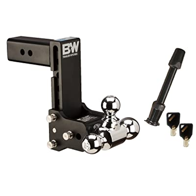"TruckProUSA B&W TS20049B Tow & Stow Receiver Hitch Tri-Ball with 2.5"" Shank - 7"" Drop / 7.5"" Rise Plus 5/8"" Black Receiver Lock: Automotive"