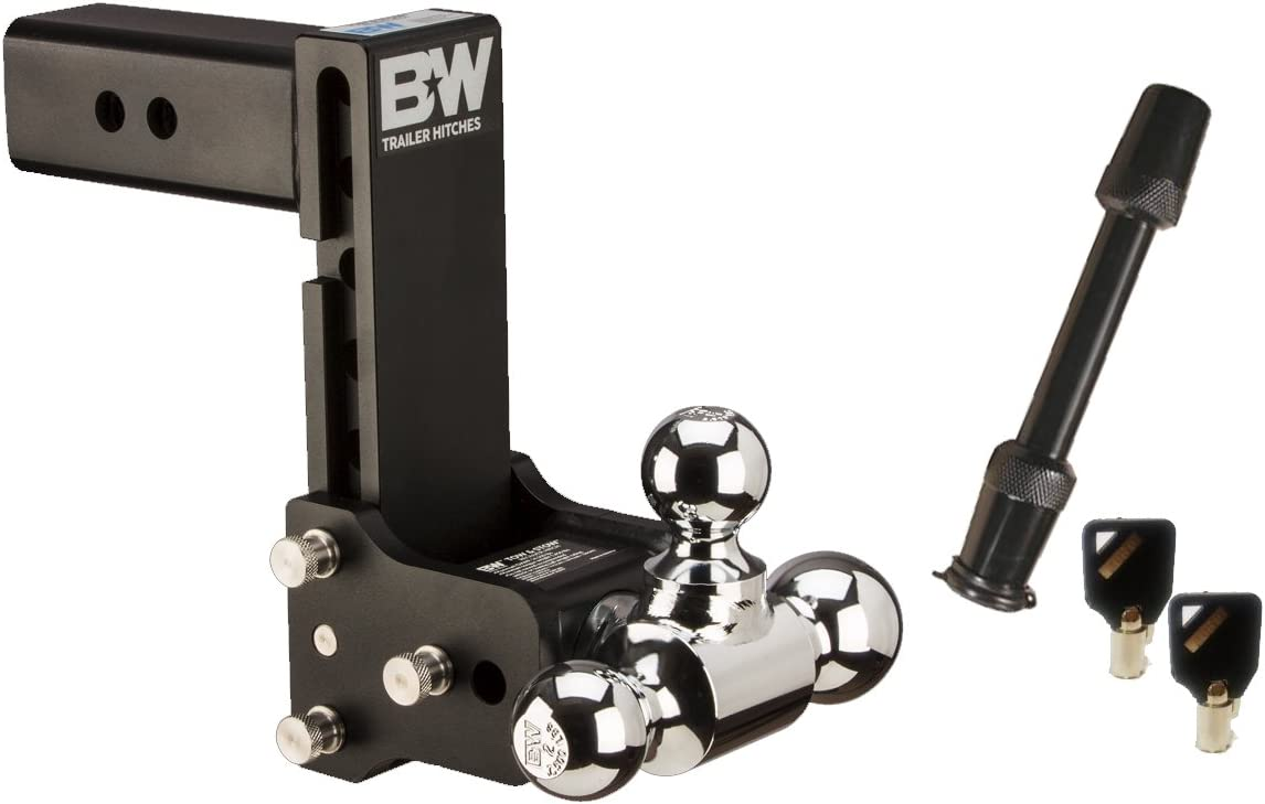 7 Drop TruckProUSA B/&W TS20049B Tow /& Stow Receiver Hitch Tri-Ball with 2.5 Shank 7.5 Rise Plus 5//8 Black Receiver Lock B/&W Trailer Hitches
