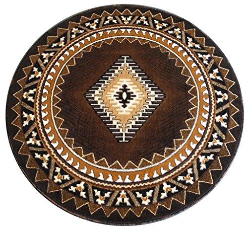 South West Native American Round Area Rug Design Kingdom 143 Chocolate (6 Feet 8 Inch X 6 Feet 8 Inch) by Kingdom