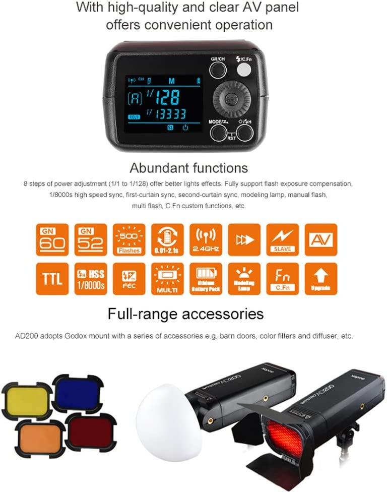 2900mAh Lithimu Battery X1T-S Wireless Flash Trigger Transmitter for Sony DSLR Camers Godox AD200 200Ws TTL 2.4G HSS 1//8000 Cordless Flash Strobe Speedlight with Double Head