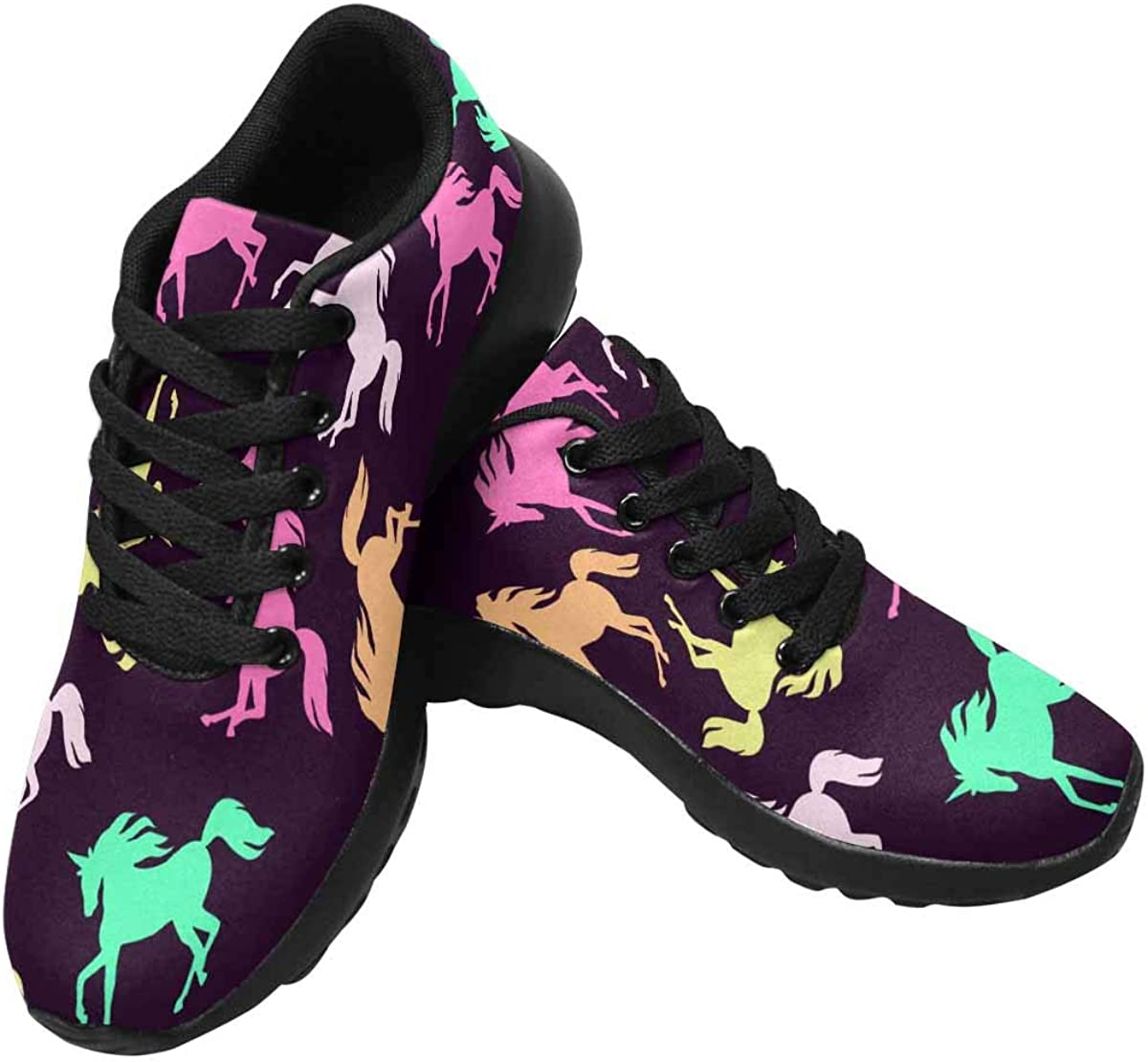 INTERESTPRINT Womens Jogging Sneakers Outdoor Sport Cross Training Shoes Realistic Unicorn Silhouette Pattern