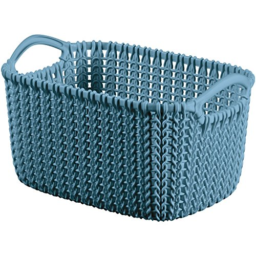 (Curver Rectangular Basket Knit XS, Plastic, Blue, 25x 17.5cm)