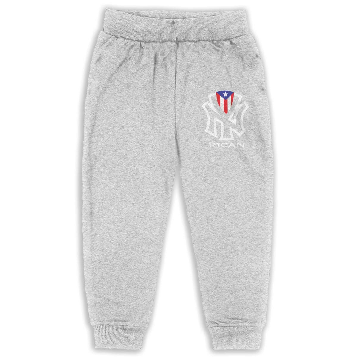 Puerto Rico New York Children Active Jogger Sweatpants Basic Elastic Sport Pants Gray