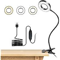 Lampara Lectura con Flexo Pinza 8W LED Luz Lectura escritorio Cuidado Ocular, 3 Modos de Luz y 10 Brillo Ajustable, 360…