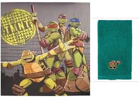 Teenage Mutant Ninja Turtles Cross Hatching Shower Curtain Tip Towel