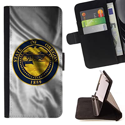 FJCases Oregon The Beaver State Bandera Ondeante con Emblema Carcasa Funda Billetera con Ranuras para Tarjetas y Soporte Plegable para HTC U11
