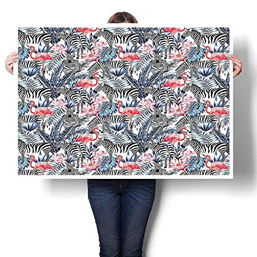 - SCOCICI1588 Canvas Prints Wall Art,Flamingos with Zebras Palm Leaves Lily Wild Elegance Graphic Dark Blue Coral Black Painting,Colorful Paintings for Living Room,16
