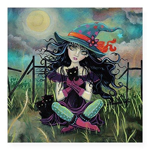 CafePress Kitten Witch Halloween Art Square Sticker 3