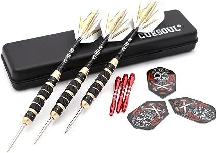 CUESOUL TOP Steel Tip Darts 26 Grams Black Coating Brass Dart Barrel Darts Set