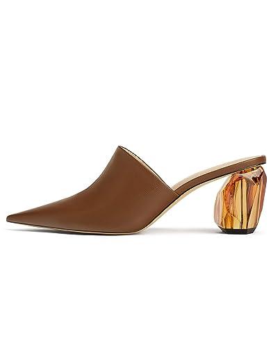 0294b3223d Zara Women's Geometric Heel Leather Mules 1230/001 Brown: Amazon.co ...