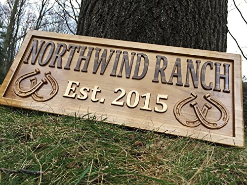 Personalized Ranch Sign Rustic Wood Sign Personalized Couples Gift Custom Wooden Sign Family Last Name Established Gift Stall Sign Horse Barn Horseshoe Decor Western 5 Year Anniversary Gift