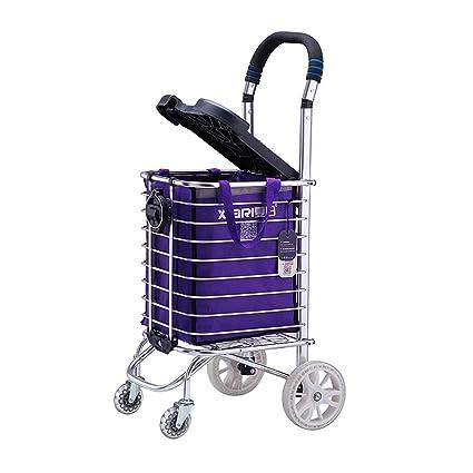 Trolley Dolly Stair Climber, Carro portátil plegable con asiento, Carro de la compra en