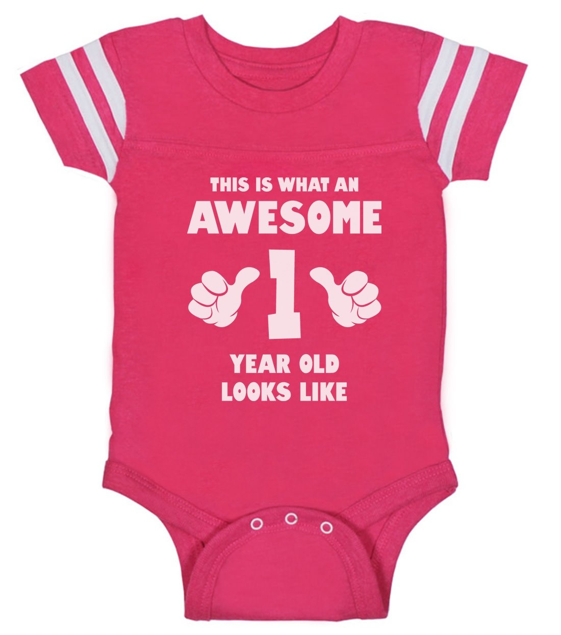 Tstars This Is What an Awesome One Year Old Looks Like Funny Baby Jersey Bodysuit 18M Wow Pink