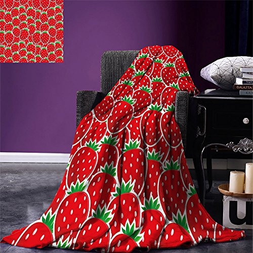 smallbeefly Fruits Digital Printing Blanket Strawberry Themed Botany Seeds Yummy Food Organic Growth Diet Health Print Summer Quilt Comforter Red Hunter Green ()