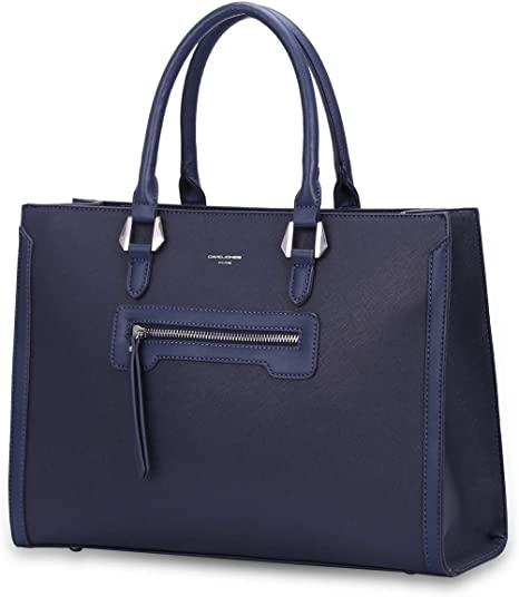 Shopper Port/é Epaule Bandouli/ère Grande Capacit/é A4 XL, Bleu fonc/é DAVID JONES Grand Sac /à Main Femme Cabas Fourre-Tout Cuir PU Rigide Sac El/égant Ville Travail Poches Multiples Mode Chic