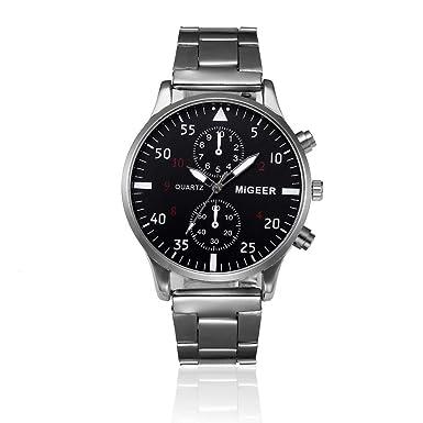 Amazon.com: Reloj de pulsera analógico de cuarzo de acero ...