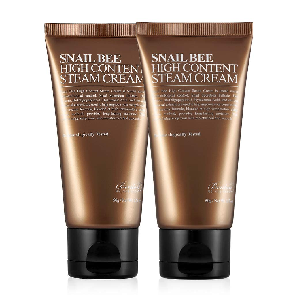 BENTON Snail Bee High content Steam Cream 50g 2 Pack - Skin Moisturizing, Acne Control, Wrinkle Improvement