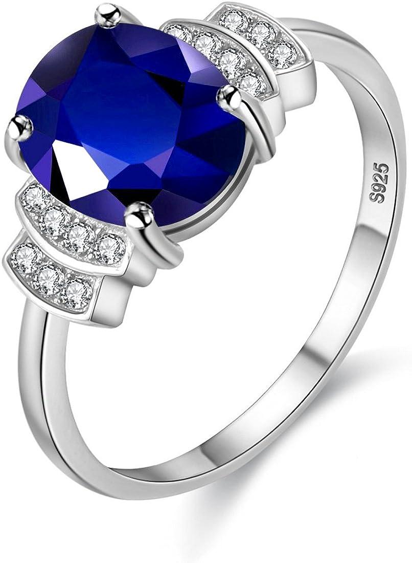 Uloveido Mujer Plata de Ley 925 Corte Ovalado Anillo de espinela Azul Natural Corindón Joyas de Boda de Piedras Preciosas CJ008