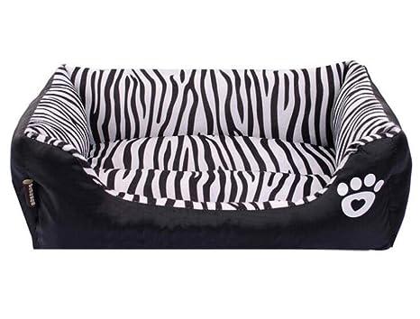 Black Manba Cama para Perros Modelo De Cebra Perrera Gato Sofá Acogedor Zebra Patrón Rectangular Pet