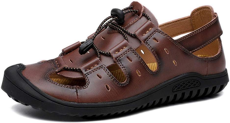 Hommes Outdoor Sports Cuir D'été Sandales Plage Chaussures