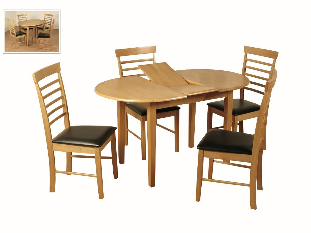 Kitchen Furniture Stylish Oval Shaped Solid Wood Extendable Dining Table Butterfly Leaf Color Light Oak