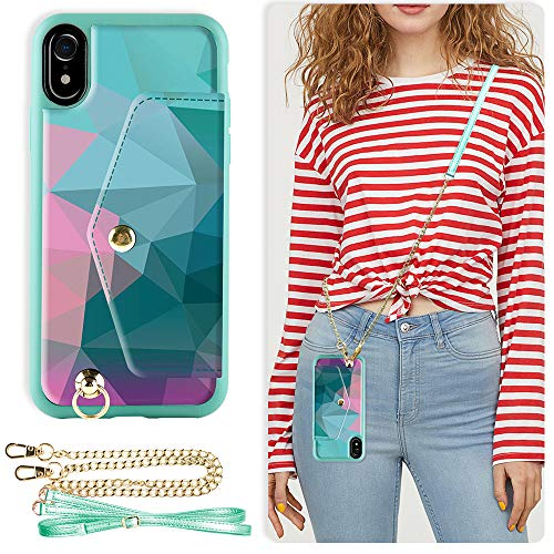 ZVE Case for Apple iPhone XR, 6.1 inch, Wallet Case with Adjustable Crossbody Chain Case Credit Card Holder Slot Handbag Purse Wrist Strap Case for Apple iPhone XR, 6.1 inch - Diamond
