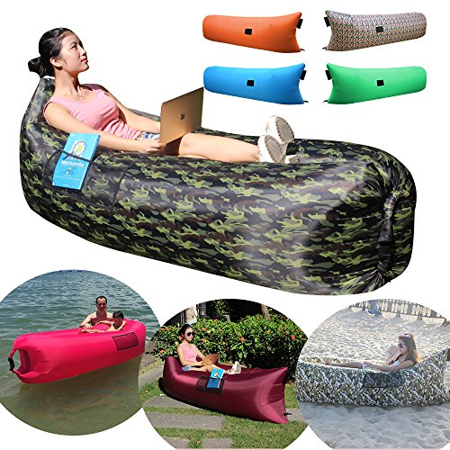 CoCoMall Camouflage Green Inflatable Lounger, Inflatable lazy bag, Portable Waterproof Compression Sack, Nylon Beach bag, Hangout Camping Sofa