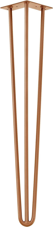 3 Varillas en.casa 45 cm Set de 4 Patas de Acero robustas Negro Hairpin Legs