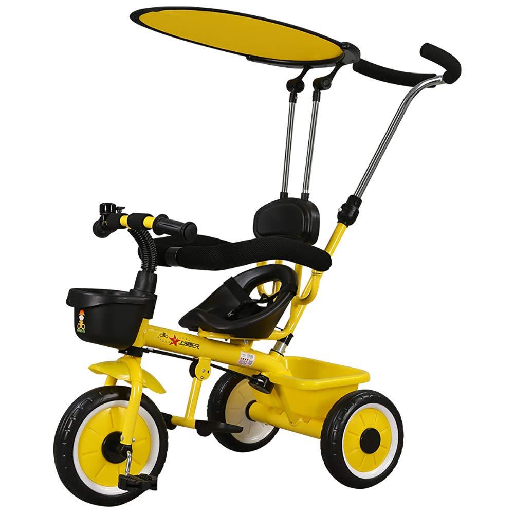 bajo precio amarillo HJFGIRL Triciclos Niños 1-2-6 1-2-6 1-2-6 Años, Bicicletas Estaticas Plegable con Dosel Ajustable Extraíble Neumático Grueso EVA Adecuado para Arena, Topetón, Hierba, Camino de Ripio  el estilo clásico