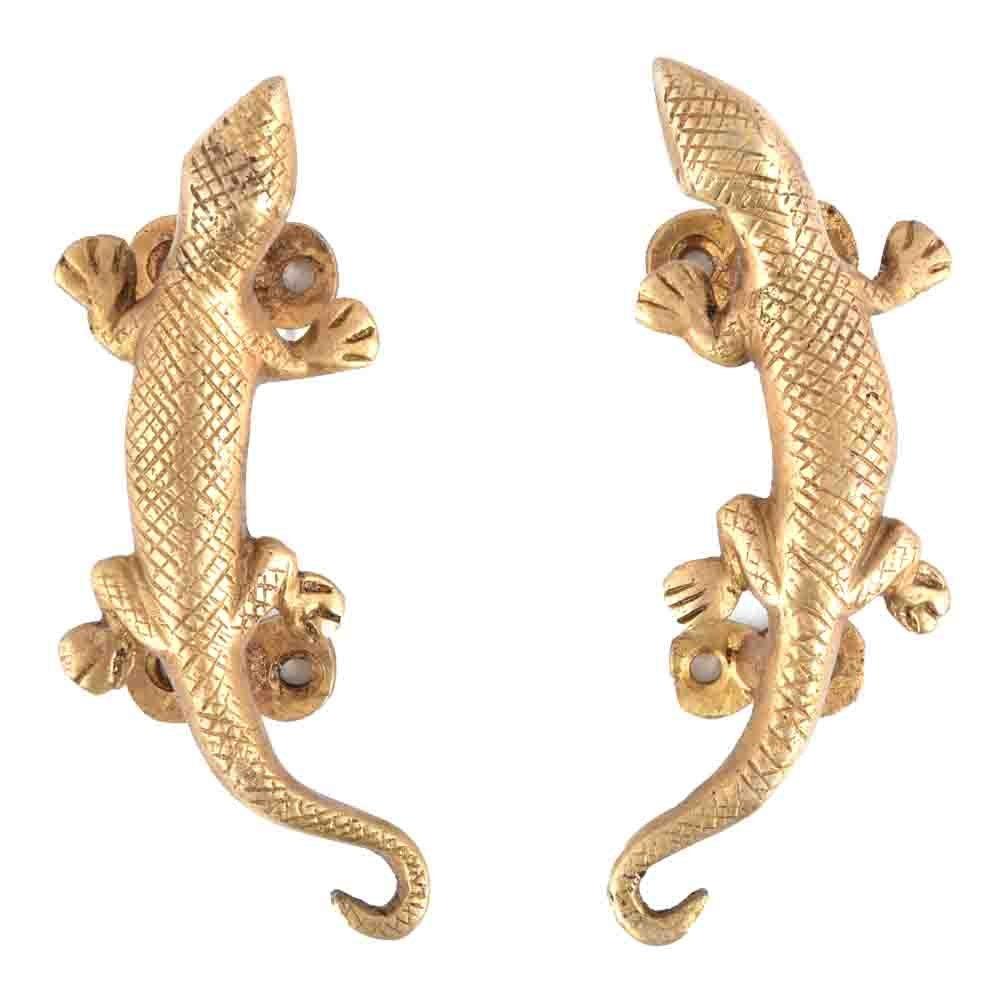 IndianShelf Set of 4 Handmade Handcrafted Artistic Brass Bronze Golden Lizard Pulls Handles Door Cabinet Drawer Wardrobe Cupboard Indian