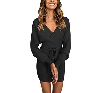 777060992c8 Image Unavailable. Image not available for. Color  Misscat Women s Sexy  Deep V Neck Wrap Sweater Batwing Long Sleeve Knit Dress