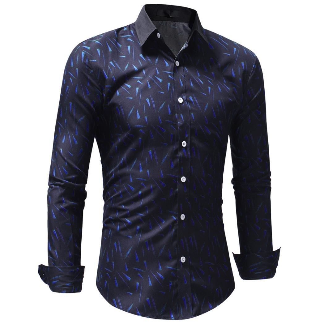 Men's Bamboo Fiber Dress Shirts Slim Fit Solid Long Sleeve Casual Button Down Shirts, Elastic Formal Shirts for Men (Blue, XXL)