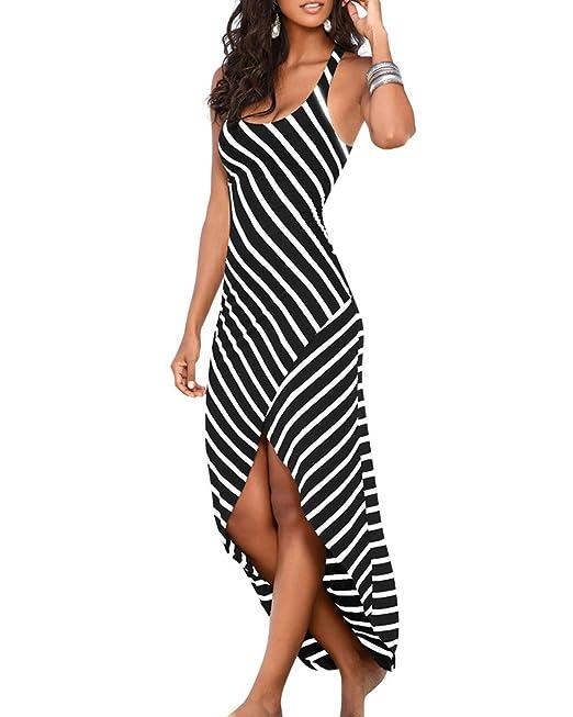 3a35ec002b98 Donna Vestito Lungo Righe Abito Maxi Casual Elegante Senza Maniche  Irregolare Abiti Da Spiaggia Nero XL