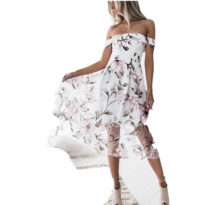 2f2a39cec5fb25 Yanhoo Damen Kleid Abend Kleid Schulterfreies Cocktailkleid Jerseykleid  Skaterkleid Frauen Art und Frauen Sommer Schulterfrei Floral