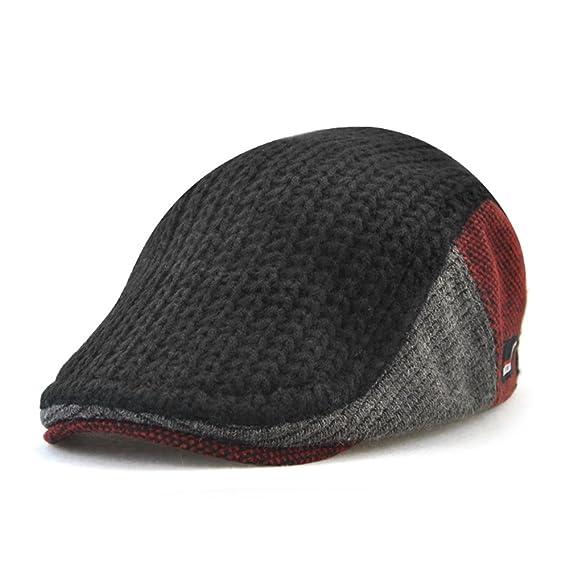 98d74bd1e8642 Autumn Winter Knitted Woollen Beret Hat Casquette Flat Visor Newsboy Cap  For Men (Black)