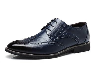 5d46b6d8f7e8a9 Chaussure Homme Cuir, Brogue Lacets Derby Mariage Dressing Oxford Business  Cuir Vernis Noir Marron Rouge