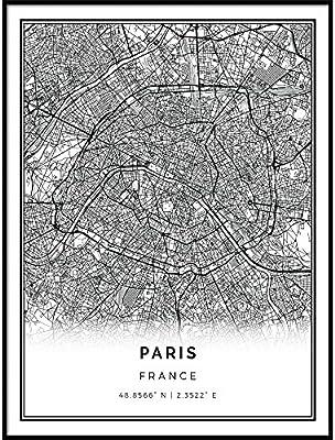Paris Map Black And White.Amazon Com Squareious Paris Map Poster Print Modern Black And