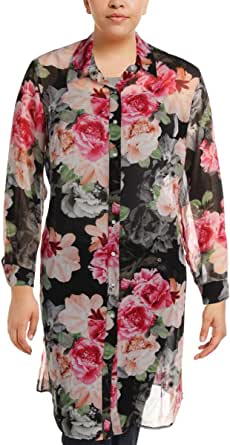 CALVIN KLEIN Women's Plus Size S/S Long PRTD Tunic