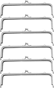 Healifty 6PCS Purse Bag Frame Rectangle Purse Coin Bag Frame Kiss Clasp Lock for DIY Craft Purse MakingBag Making 18CM