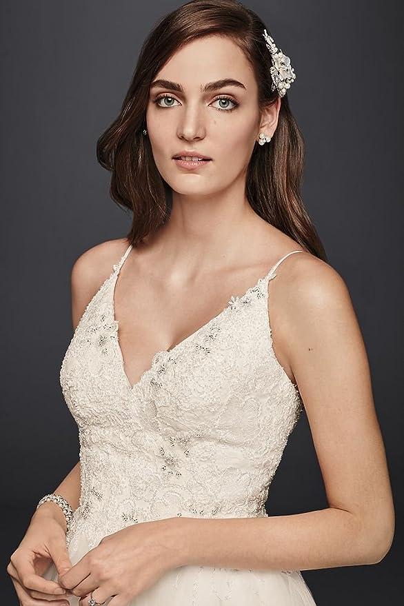 Melissa Sweet Short Tulle V Neck Wedding Dress Style Ms251160 Ivory 6 At Amazon Women S Clothing Store