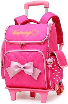 XHHWZB Rolling Backpack para niñas con Estuche de lápices y loncheras Mochilas Escolares Trolley Mochilas con Ruedas (Color : Rosa): Amazon.es: Deportes y aire libre
