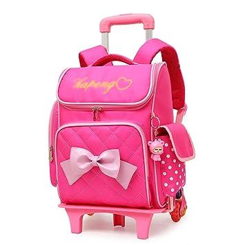 XHHWZB Rolling Backpack para niñas con Estuche de lápices y loncheras Mochilas Escolares Trolley Mochilas con Ruedas (Color : Rosa): Amazon.es: Deportes y ...