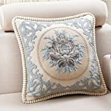 Decorative Pillow Cover - Classic Jacquard Embroidery Decorative Cotton Linen Throw Pillow Cover 20