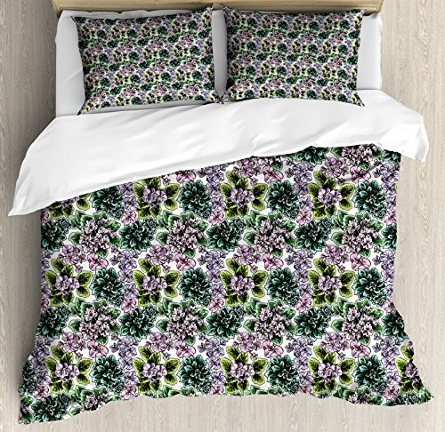 Violet African Flowering (Ambesonne Floral Queen Size Duvet Cover Set, Flowering Plants Gardening African Violet Peonies Hydrangea Foliage Illustration, Decorative 3 Piece Bedding Set with 2 Pillow Shams, Multicolor)