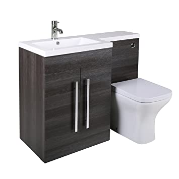 Aquariss Calm WC Set grau mit Spülkastenverkleidung und Integriertem  linksseitigem Waschbecken