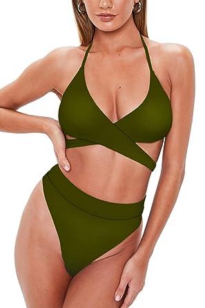 069e4395f9 QINSEN Women High Waisted Bikini Set Halter Criss Cross Cutout Bandage Two  Pieces Swimsuit Outfit S