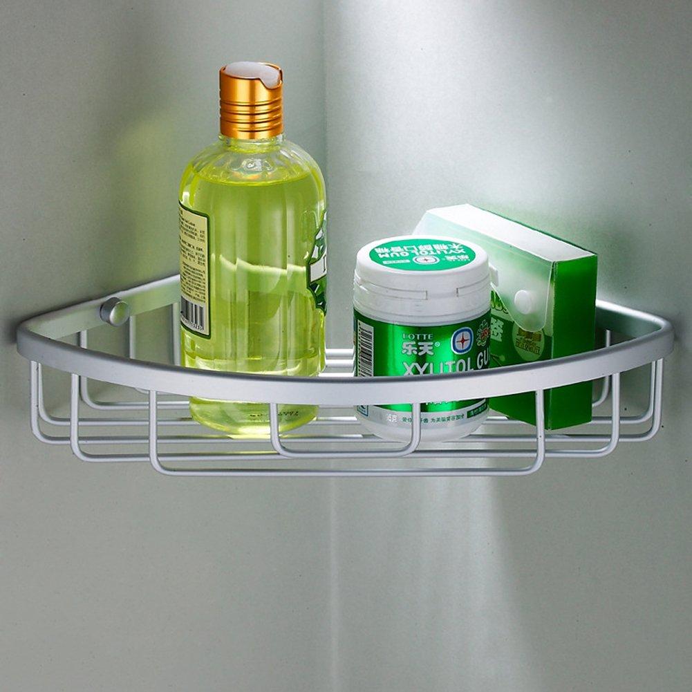 Joyoldelf - Singolo ripiano portaoggetti da doccia angolare a cestello, in alluminio lucidato F0042