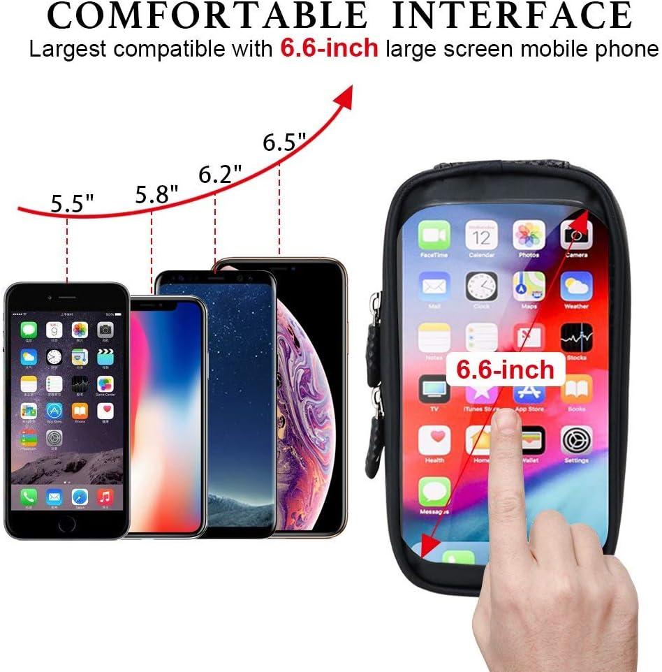 Happyroom Sacoche V/élo Cadre Etanche Sacoche Guidon V/élo avec /Écran Tactile Support V/élo T/él/éphone Pochette Velo Guidon pour iPhone X//XS Max//XR//8//Samsung S9//S8 T/él/éphone 6,5 Pouces