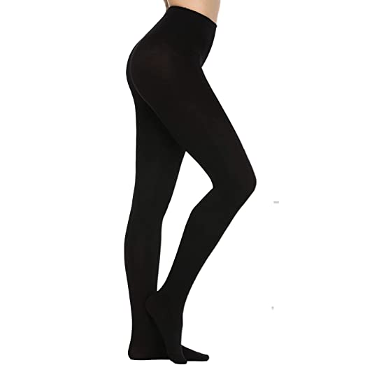 5bad7c11f90 ANVEY 120D Super Opaque Solid Color Footed Pantyhose Tights black at ...